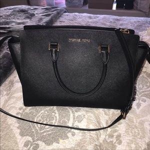 Black and gold Michael kors saffiano purse bag